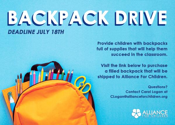 Alliance for Children's Backpack Drive