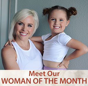 Banner for Woman of the Month article with current woman's face and text