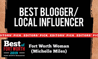 2019 Fort Worth Magazines Best Blogger Influencer Winner banner for Michelle Miles of Fort Worth Woman